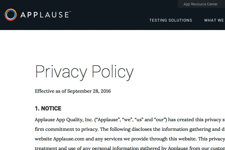 privacy policy of applause