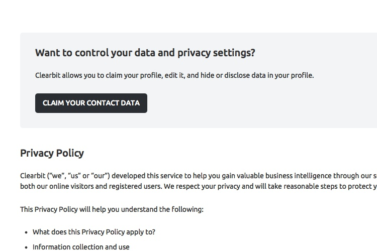privacy policy of clearbit