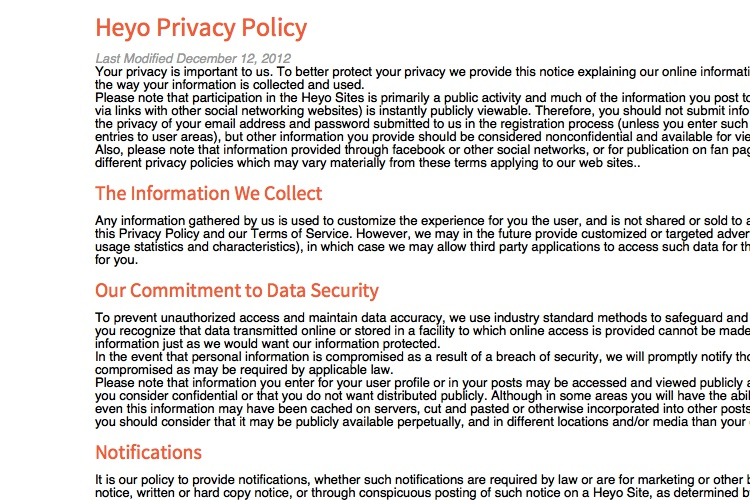 Privacy Notice Template Screenshot Of Github Privacy Statement
