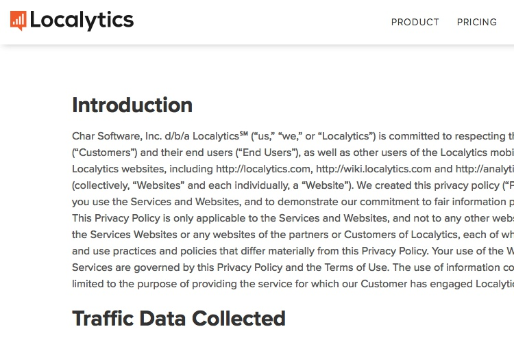Screenshot of Localytics