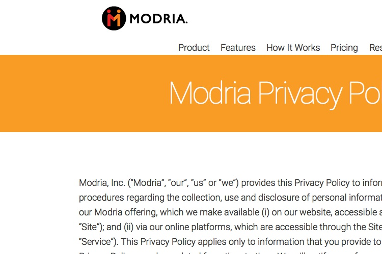 Screenshot of Modria