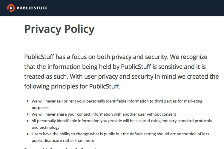 privacy policy of publicstuff