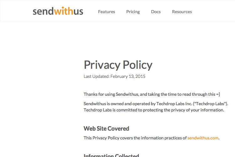Screenshot of sendwithus