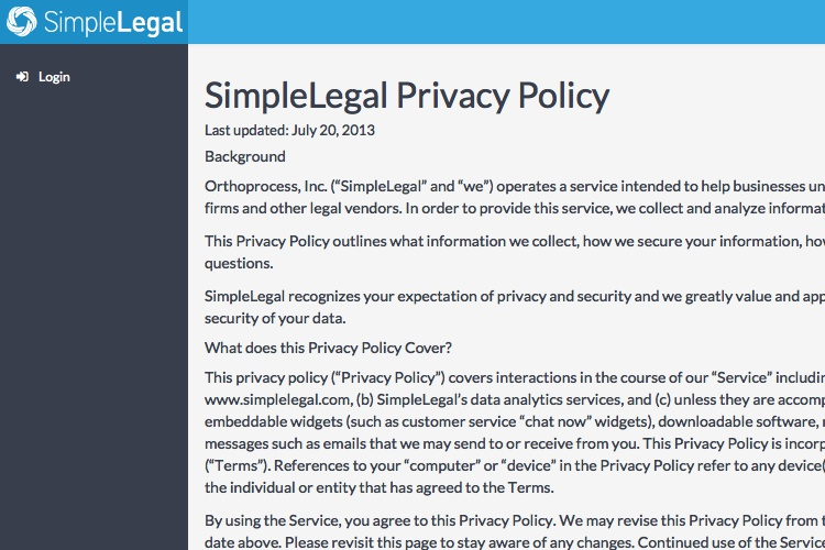 Screenshot of SimpleLegal