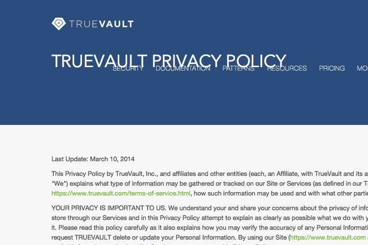 Screenshot of TrueVault