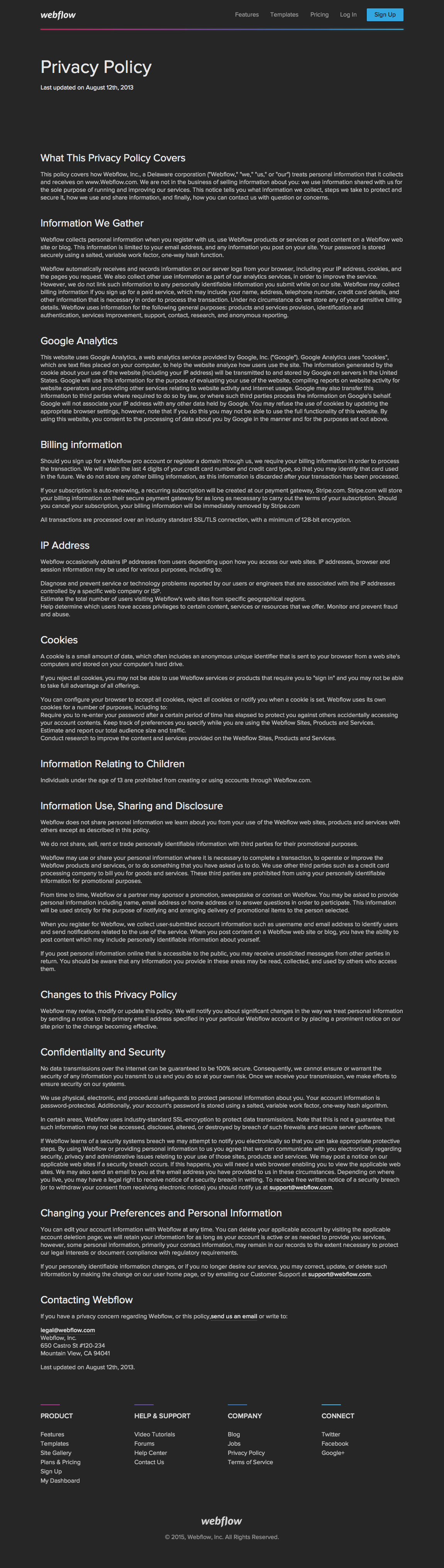 Standard Privacy Policy >> 2020 Free Privacy Policy Template Generator