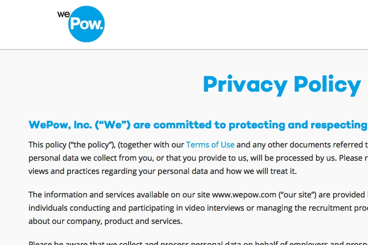 Screenshot of WePow