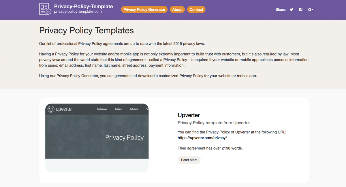 about privacy policy template com